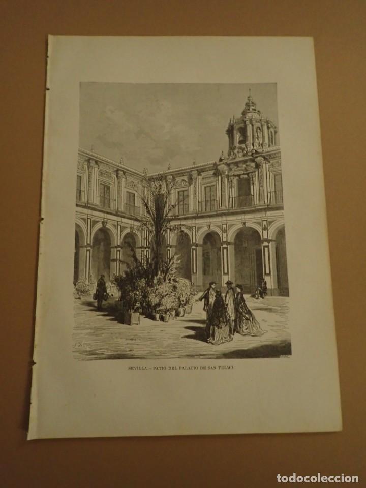 LAMINA LITOGRAFIA ORIGINAL ANTIGUA DORÉ 1879 SEVILLA PATIO PALACIO SAN TELMO (Arte - Litografías)
