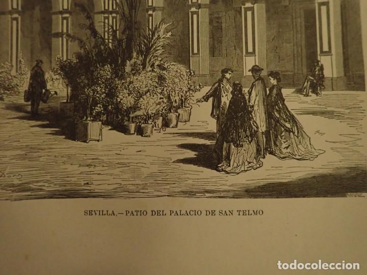 Arte: Lamina Litografia original antigua Doré 1879 Sevilla Patio Palacio San Telmo - Foto 2 - 212527436