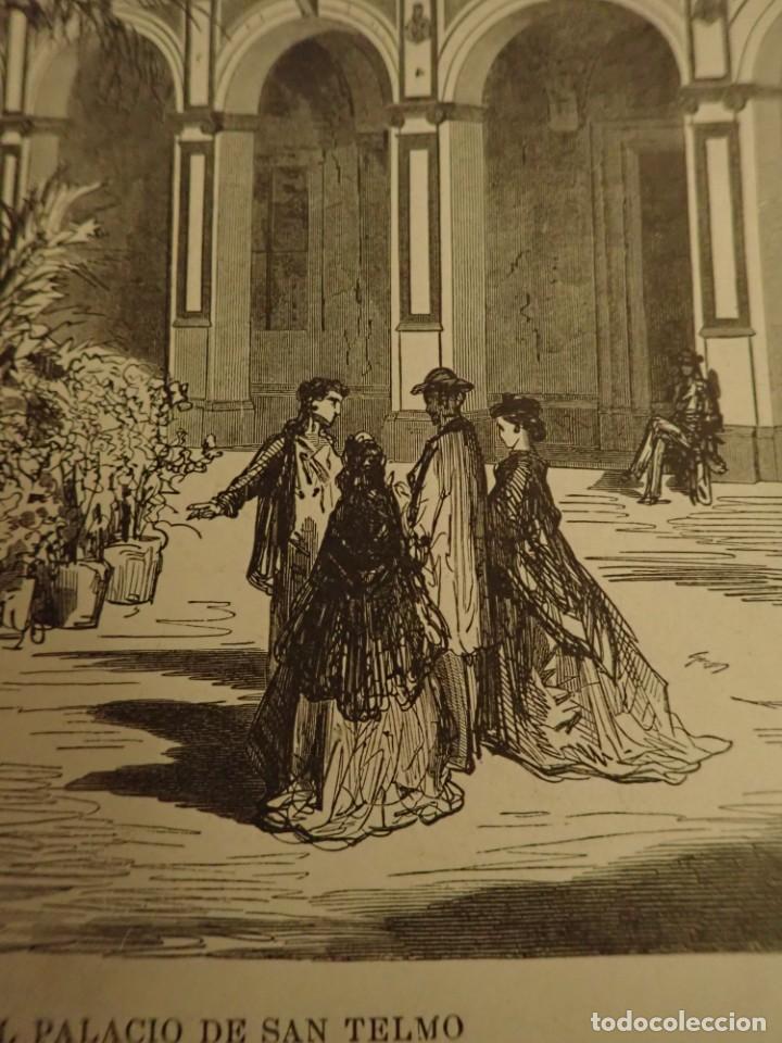 Arte: Lamina Litografia original antigua Doré 1879 Sevilla Patio Palacio San Telmo - Foto 3 - 212527436