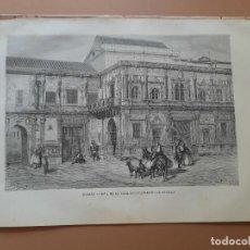 Arte: LAMINA LITOGRAFÍA ORIGINAL ANTIGUA DORÉ 1879 VISTA DE LA CASA AYUNTAMIENTO DE SEVILLA. Lote 212717413