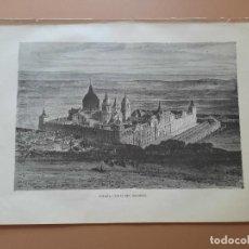 Arte: LAMINA LITOGRAFÍA ORIGINAL ANTIGUA DORÉ 1879 VISTA DEL ESCORIAL MADRID. Lote 212718157