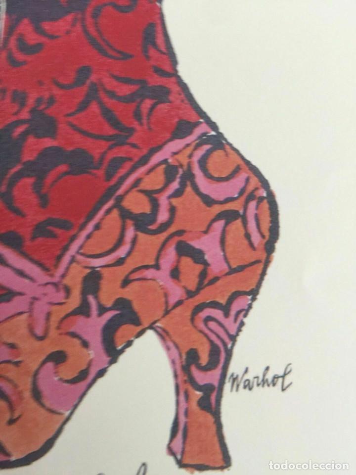 Arte: Litografia de Andy Warhol,Tacon rojo,numerado a lapiz,con firma y marca de agua,57x38 cms - Foto 7 - 213164441