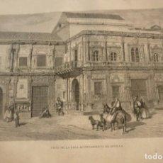 Arte: VISTA DE LA CASA AYUNTAMIENTO DE SEVILLA. LITOGRAFIA ORIGINAL AÑO 1881. Lote 213818766