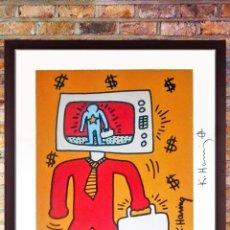 "Arte: CUADRO DE LITOGRAFÌA DE "" KEITH HARING ""- TV MANDE.- ALTA CALIDAD DE LITOGRAFIA. EDICION LIMTADA DE. Lote 214938968"