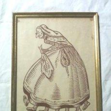 Arte: LA VELLA QUARESMA UNA DONA AMB 7 CAMES, LITOGRAFIA ANYS 60. MED. 42 X 56 CM. Lote 214960043