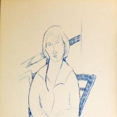 Arte: ELMYR DE HORY (BUDAPEST 1906-IBIZA 1976) - PORTRAIT EN BLEU EL ESTILO DE MODIGLIANI (1884-1920). Lote 216596677