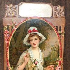 Arte: CROMOLITOGRAFIA CARTON TROQUELADO CON ESCENA ROMANTICA. USADA PARA PUBLICIDAD DE COMERCIOS. C. 1910. Lote 251351075