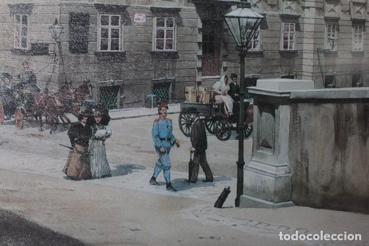 Arte: Antigua impresión litográfica de Franz Poledne, enmarcada y con cristal. 45x34cm - Foto 4 - 218001238