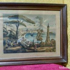Arte: LITOGRAFÍA ANTIGUA PAISAJE DE NÁPOLES , 2000-107. Lote 89721256