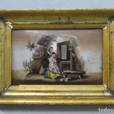 Arte: LITOGRAFIA COLOREADA ADHERIDA A CRISTAL. MARCO DE EPOCA. SIGLO XIX. Lote 218932913