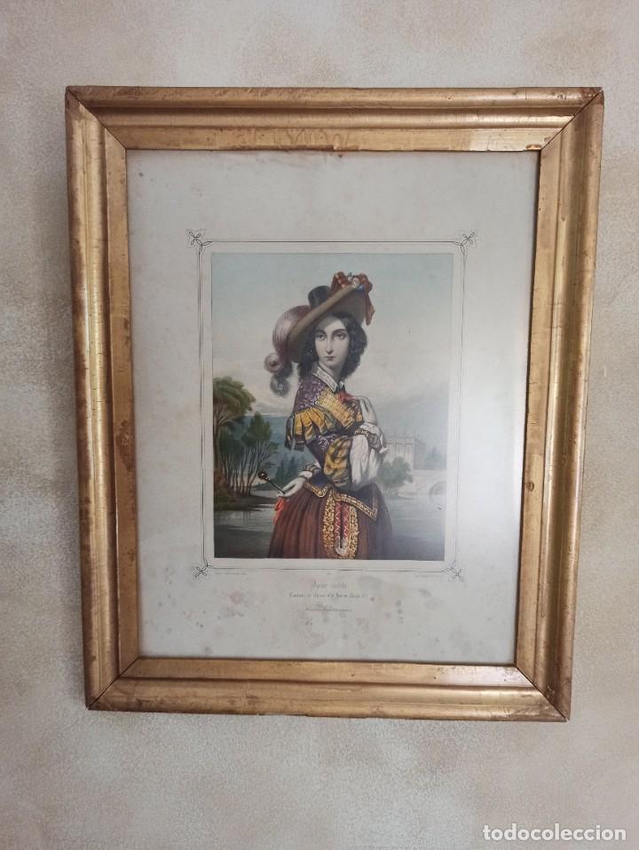 """Arte: Litografía """"Dame noble a la court de Louis X"""" - Foto 12 - 218939456"""