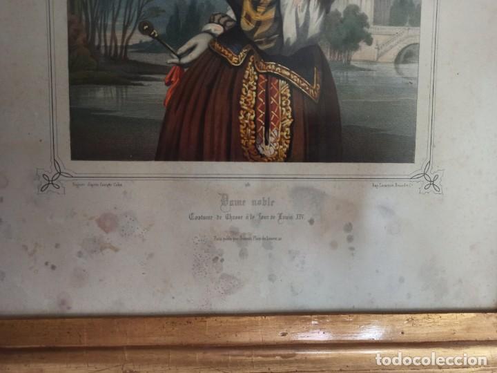 """Arte: Litografía """"Dame noble a la court de Louis X"""" - Foto 3 - 218939456"""