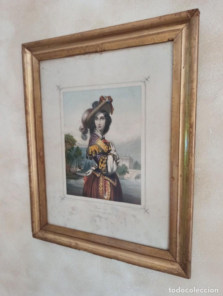 """Arte: Litografía """"Dame noble a la court de Louis X"""" - Foto 5 - 218939456"""