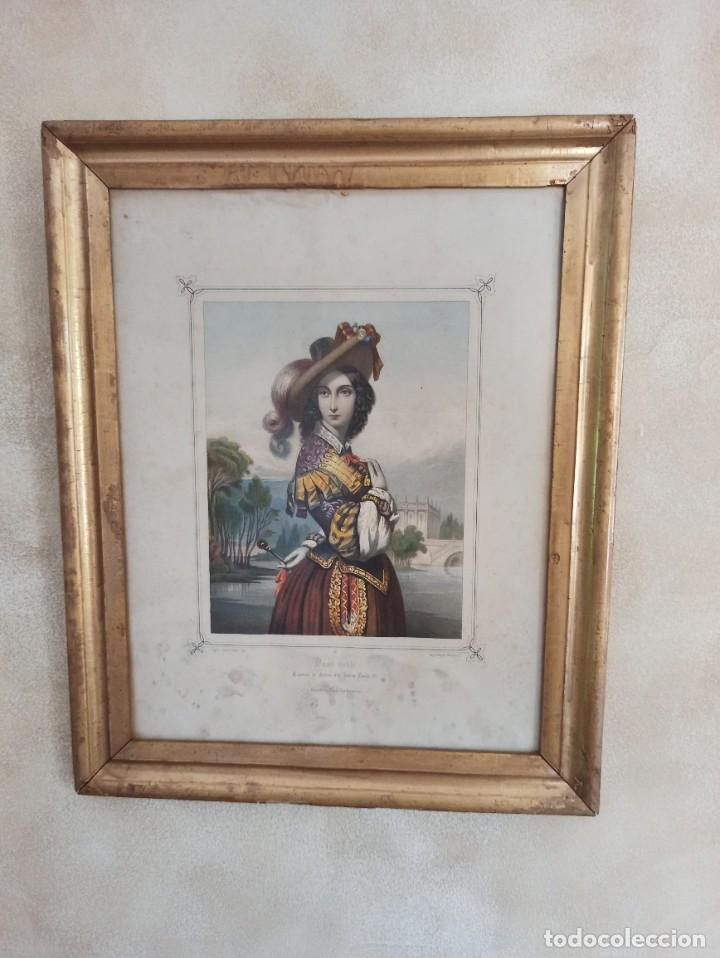 """Arte: Litografía """"Dame noble a la court de Louis X"""" - Foto 6 - 218939456"""