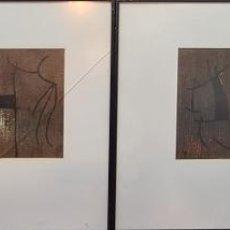 Arte: CONJUNTO DE 4 LITOGRAFÍAS IMPRESAS. ABSTRACTO. SERIE FEMME. JOAN MIRÓ. 1960.. Lote 219189125