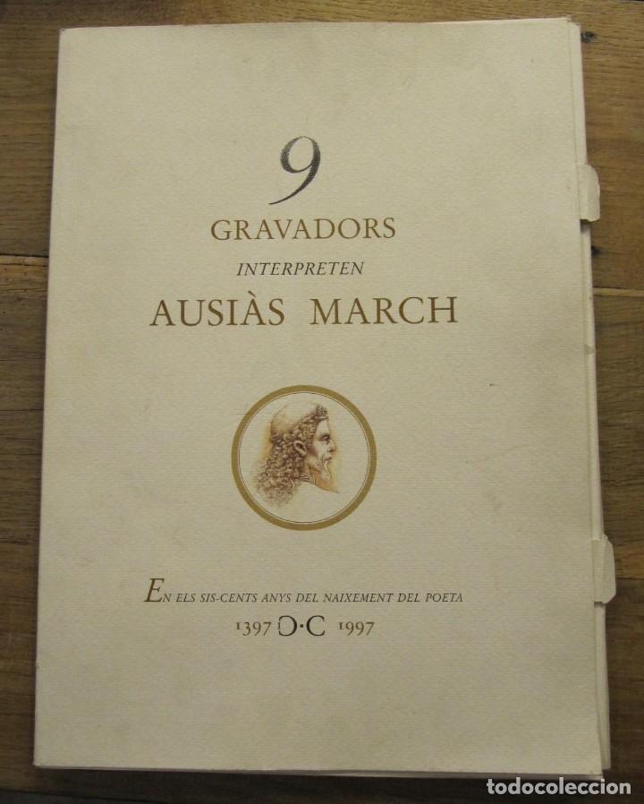 CARPETA - 9 GRAVADORS INTERPRETEN AUSIAS MARCH - JOAN GENOVES,ARCADI BLASCO,ARTUR HERAS,ANTONI MIRO, (Arte - Litografías)