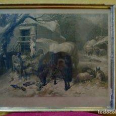 Arte: LITOGRAFÍA ANTIGUA GRANJA DE ANIMALES, 2000-198. Lote 89713872