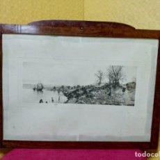 Arte: LITOGRAFÍA PAISAJE MARINO MARCO EN CASTAÑO, 2000-231. Lote 89723640