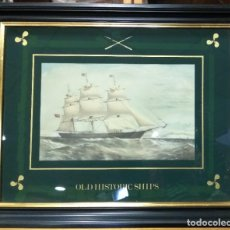 Arte: CUADRO DE MADERA CON LITOGRAFIA DE OLD HISTORIC SHIPS. CLIPPER SHIP. Lote 220511017