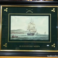 Arte: CUADRO DE MADERA CON LITOGRAFIA DE OLD HISTORIC SHIPS. CLIPPER SHIP. Lote 220511193