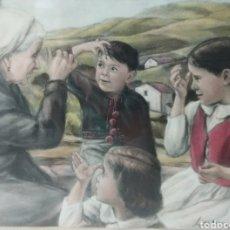 Arte: CUADRO ESCENA VASCA LA SEÑAL DE LA CRUZ LUIS LARRINAGA IBARRA (BILBAO 1923-2006) PAIS VASCO ESCUELA. Lote 238390160
