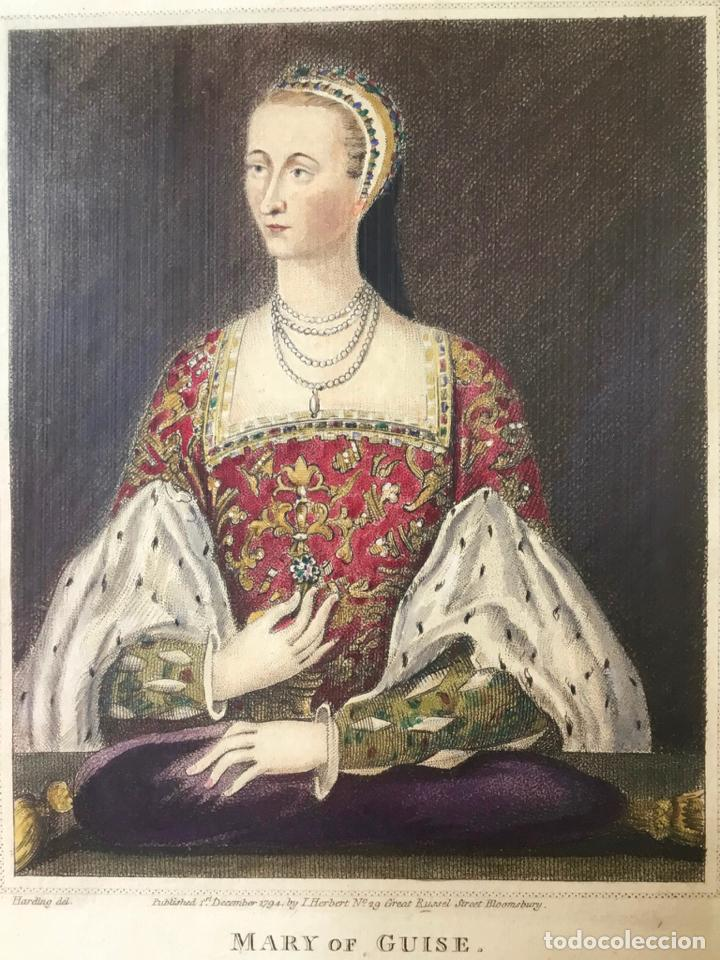 MARY OF GUISE. FROM A PAINTING IN THE DUKE OF DEVONSHIRE'S POSSESSION. (LIT. 23,7 X 13,8 CM) (Arte - Litografías)