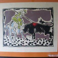 Arte: LITOGRAFIA COLOREADA A MANO // DE JOSE LUIS GALICIA 1972 // DE LA SERIE TAUROMAQUIA. Lote 222106160