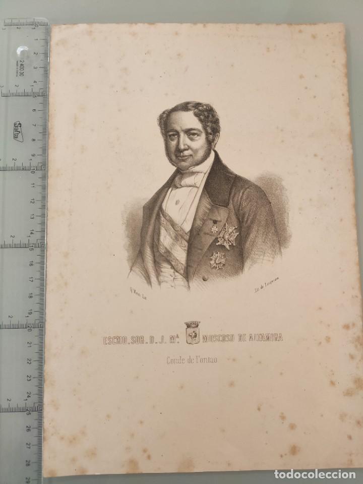 LITOGRAFIA ORIGINAL ANTIGUA. JOSE MARIA MOSCOSO DE ALTAMIRA, CONDE DE FONTAO (Arte - Litografías)