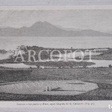 Arte: 1882 - LITOGRAFÍA - CARTAGO - LOS PUERTOS Y EL FORO SEGÚN FOTOGRAFÍA DEL SR. CATALANOTTI. Lote 222443705