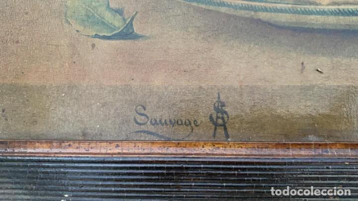 Arte: LITOGRAFIAS ANTIGUAS EN CARTON FIRMADAS PARECE QUE PONE SAUVAGE DE 47 X 38 CMS. - Foto 3 - 222739662