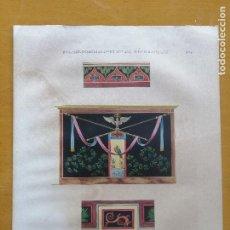 Arte: PEINTURES DE POMPEI, RECUEIL D'ORNEMENTS ET DE DECORATIONS. LITOGRAFÍA ILUMINADA. H.ROUX AINÉ, 1833.. Lote 223080232