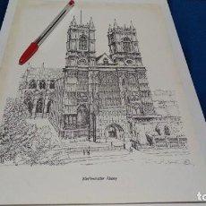 Arte: GRABADO LITOGRAFICO DE BERNARD SMITH 1978 WESTMINSTER ABBEY LONDON - 32 X 22. Lote 223868200