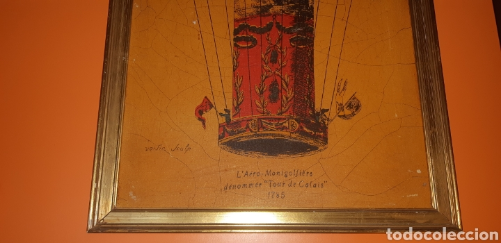Arte: Litografia en tela sxix globo aerostático - Foto 5 - 224681678