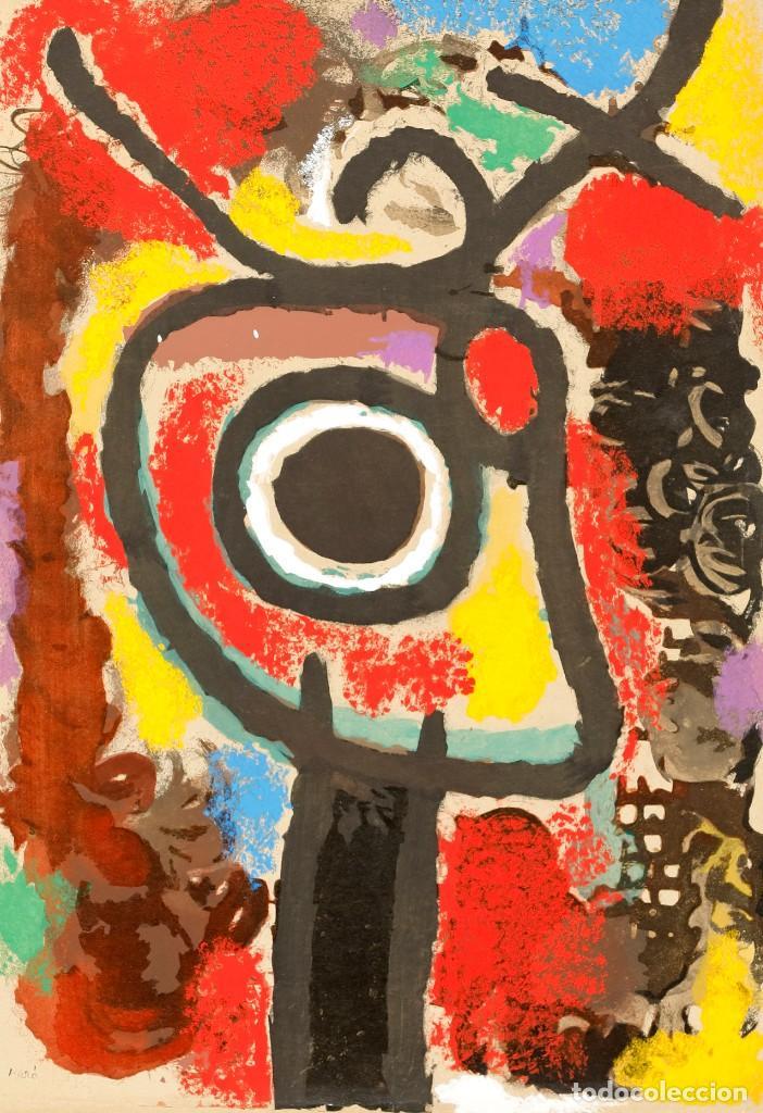 """Arte: Joan Miró Pochoir Coloreado por Daniel Jacomet Titulo """"Personnage et Oisseu"""" Edición limitada 75 ej. - Foto 2 - 226453045"""