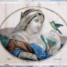 Arte: PRECIOSA Y ANTIGUA LITOGRAFÍA NAPOLITANA - ALEGORÍA DE ASIA - ILUMINADA - LIT. ALTAVILLA - S.XIX -. Lote 226832355