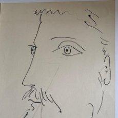 Arte: CARA DE HOMBRE. LITOGRAFIA ORIGINAL DE PICASSO PUBLICADA EN 1957. Lote 228592690