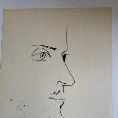 Arte: CABEZA DE HOMBRE. LITOGRAFIA ORIGINAL DE PICASSO PUBLICADA EN 1957. Lote 228592848