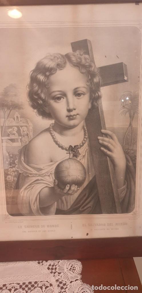 Arte: Litografia siglo xix con marco de caoba niño de la bola o salvador del mundo - Foto 2 - 229804800