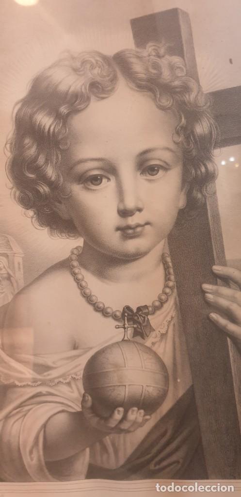 Arte: Litografia siglo xix con marco de caoba niño de la bola o salvador del mundo - Foto 5 - 229804800