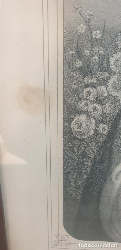 Arte: Litografia siglo xix con marco de caoba niño de la bola o salvador del mundo - Foto 7 - 229804800