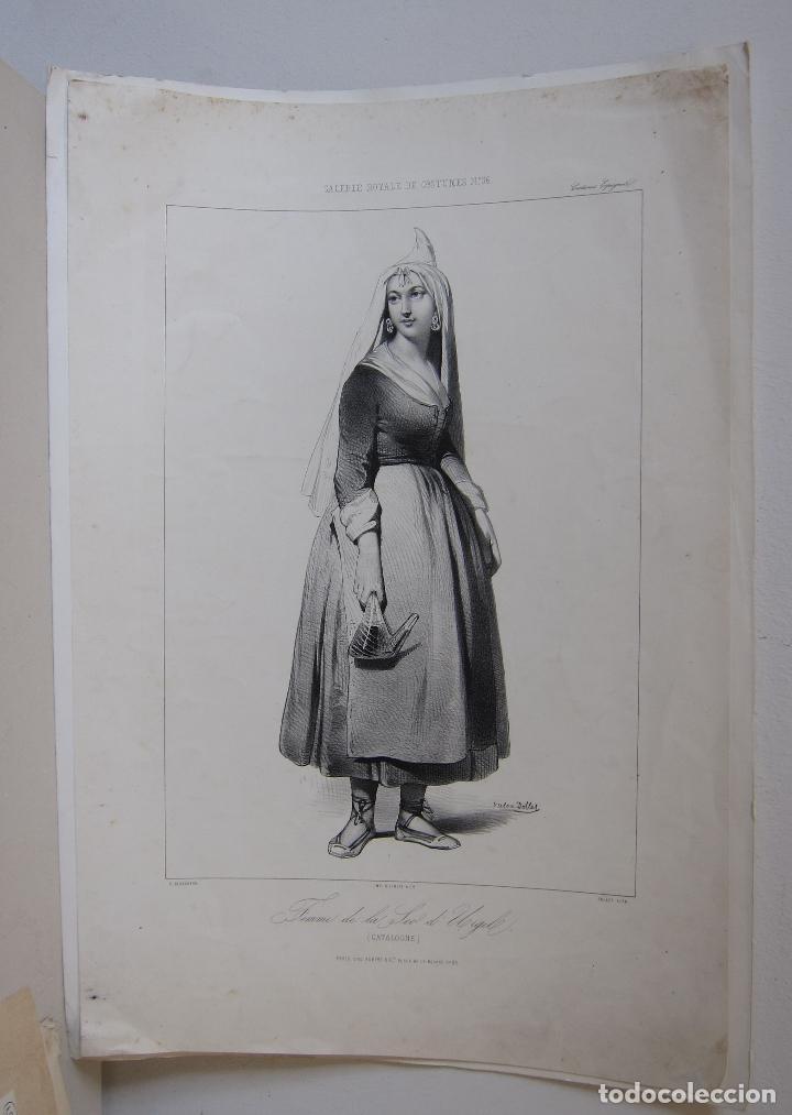 Arte: Femme de la Seu dUrgell. Catalogne. dibujo de Pharamond Blanchard. Litografia Dollet. París, 1842 - Foto 2 - 230203830