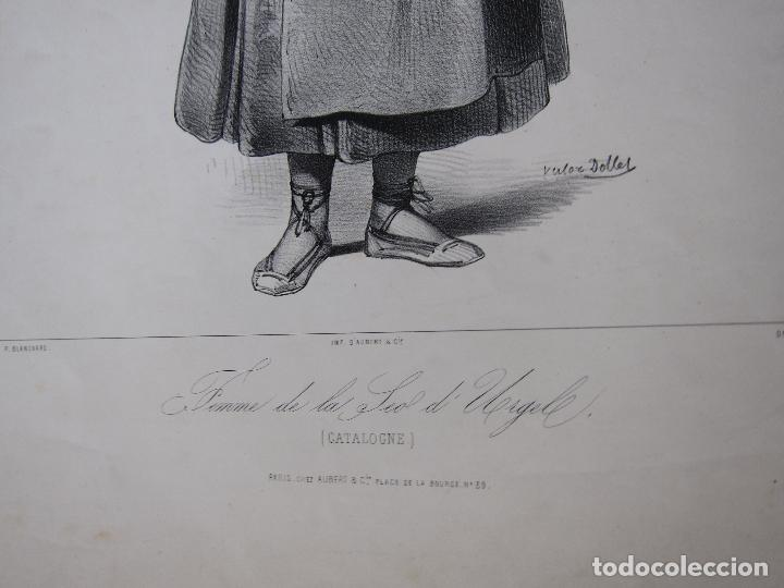 Arte: Femme de la Seu dUrgell. Catalogne. dibujo de Pharamond Blanchard. Litografia Dollet. París, 1842 - Foto 4 - 230203830