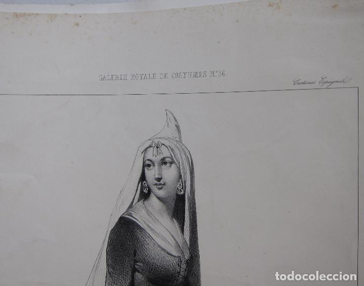 Arte: Femme de la Seu dUrgell. Catalogne. dibujo de Pharamond Blanchard. Litografia Dollet. París, 1842 - Foto 5 - 230203830