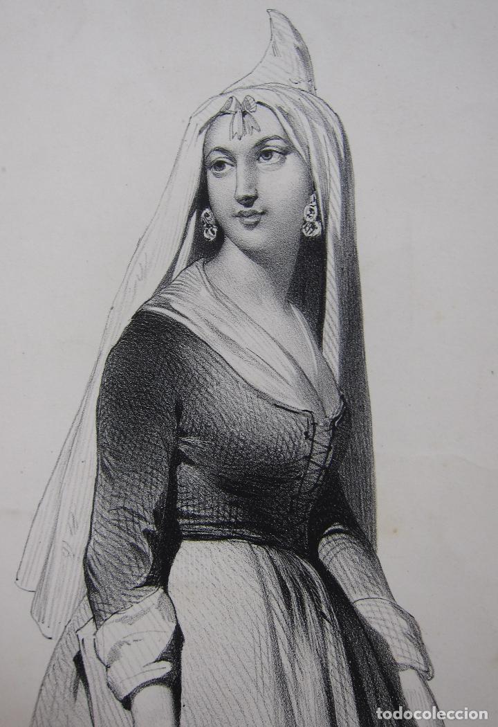 Arte: Femme de la Seu dUrgell. Catalogne. dibujo de Pharamond Blanchard. Litografia Dollet. París, 1842 - Foto 6 - 230203830
