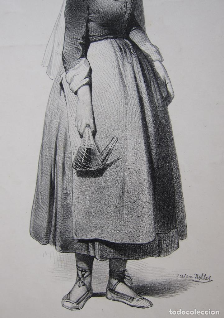 Arte: Femme de la Seu dUrgell. Catalogne. dibujo de Pharamond Blanchard. Litografia Dollet. París, 1842 - Foto 8 - 230203830