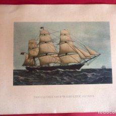 """Arte: CROMO LITOGRAFÍA """"THE CLIPPER SHIP HIGHFLYER 1111TONS"""". Lote 230514345"""
