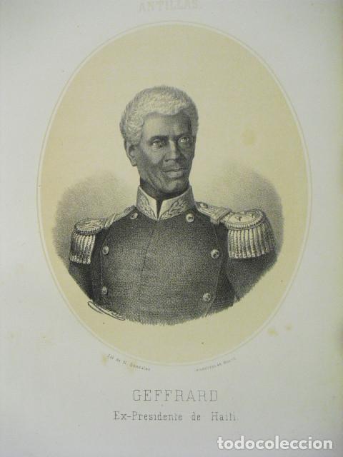 SIGLO XIX LITOGRAFÍA DE GEFFRARD EX-PRESIDENTE DE HAITI (Arte - Litografías)