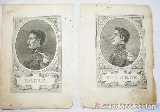 PAREJA DE GRABADOS DE DAOIZ Y VELARDE[ S.19 ] (Arte - Litografías)