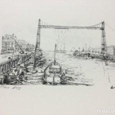 Arte: LITOGRAFÍA NUMERADA PUENTE COLGANTE BILBAO LUIS LUENGO BILBAO. Lote 233723445