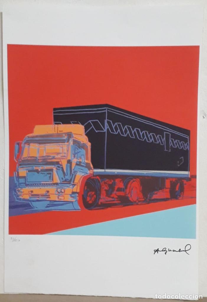 Arte: Litografia de Andy Warhol, Camion,numerado a lapiz,con firma y marca de agua,57x38 cms - Foto 2 - 234442235